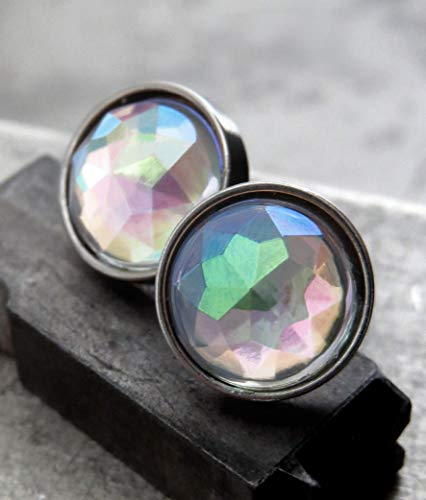 Womens Large Stud Earrings Ice Shimmer Iridescent Post Earrings with Simulated Druzy