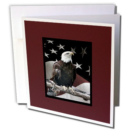 - Bald Eagle on Log with American Flag  - Greeting Cards, 6 x 6 inches, set of 12 (gc_77331_2)