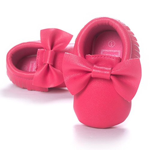 Voberry Baby Boys Girls Soft Soled Tassel Bowknots Crib Shoes PU Moccasins (0~6M, Hot Pink) by Voberry (Image #4)