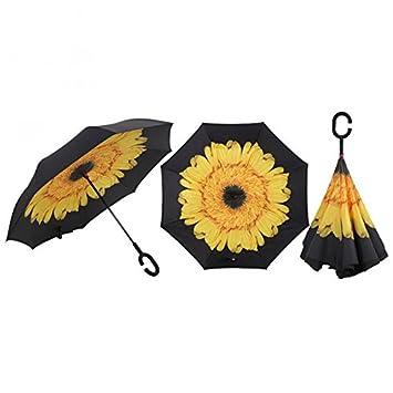 Mejor paraguas paraguas invertido amarillo Daisy de doble capa impermeable recto paraguas del revés plegable para
