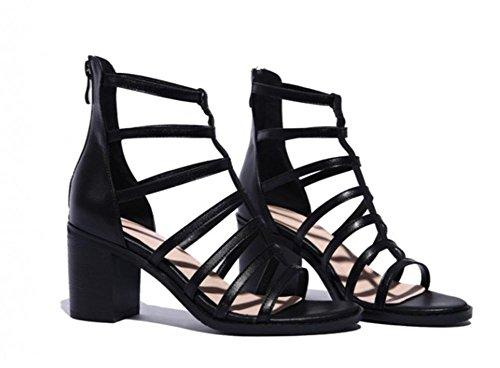 EUR35UK3 Talon Talon de Femmes Romain Pied Sandales Chunky Chaussures éclair Cuir Doigt Fermeture Piaulement BLACK Haute NVXIE Bloc des qURwSHw
