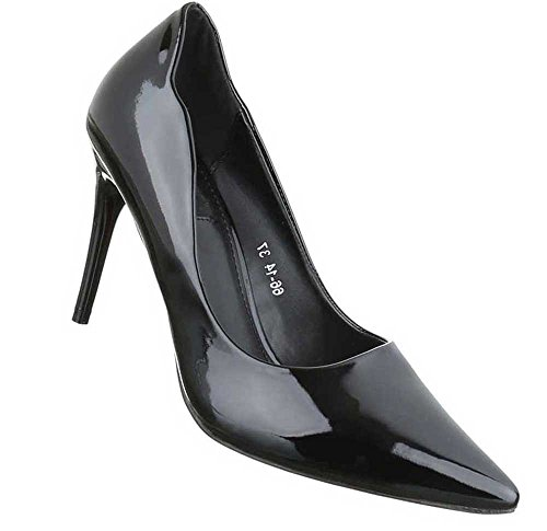 Damen Pumps Schuhe High Heels Schwarz Schwarz