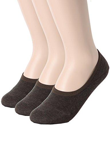 OSABASA Mens No Show Socks Non-Slip Grips Casual Low Cut Boat Sock DARKBROWN M (SET3KMMS0101)