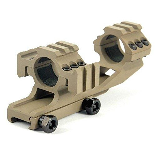 Fast Dealz Tactical 1 inch 25.4mm Dual Ring Cantilever Scope Mount FDE DE Dark Earth TRI Mount for Lasers, Flashlights, Nikon, Leupold, Vortex, Burris (Tri Tactical Rail Scope)