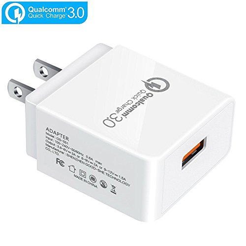 TFHEEY Quick Charge 3.0 Cargador, [Qualcomm Certificado] 18W Cargador Móvil QC3.0 Cargador USB Pared para iPhone, iPad,...