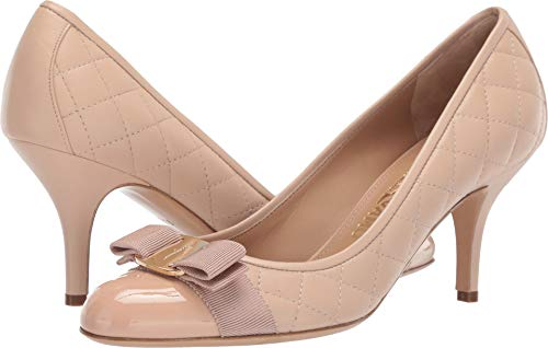 Womens Quilted Pumps - Salvatore Ferragamo Women's Carla Quilted Pump New Bisque Patent 9 AA US