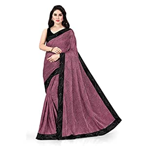 SOURBH Women's Embellished Contrast Border Lycra Woven Saree with Blouse Piece