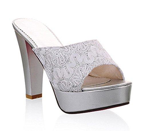 Easemax Donna Casual Dolce Peep Toe Slip On Sandalo Con Tacco Alto Sandali Con Zeppa Platform Con Paillettes Argento