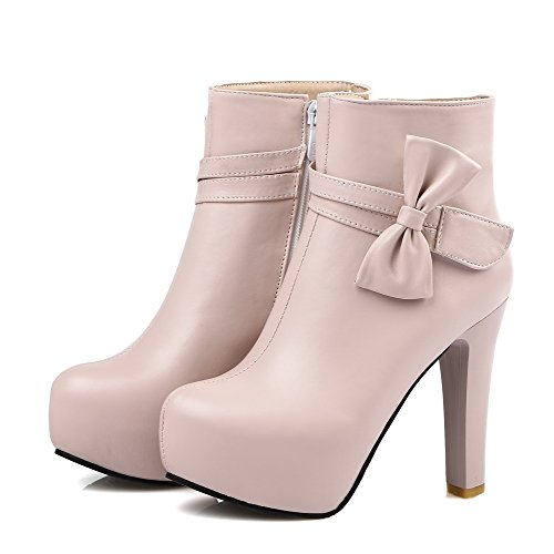 Pink PU High Solid Women's WeiPoot Low Top Round Closed Toe Boots Heels zYACqwSPxC