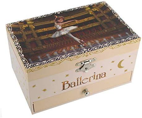 Caja de música para joyas / joyero musical de madera con bailarina animada y decoración