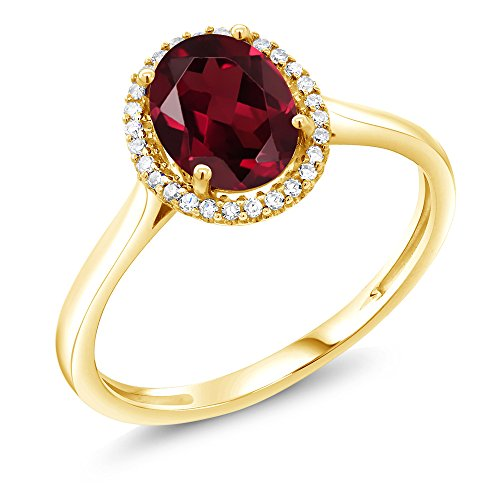 1.35 Ct Oval Red Rhodolite Garnet 10K Yellow Gold Diamond Ring (Size (10k Rhodolite Ring)
