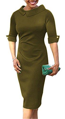 BETTE BOUTIK Women's Pencil Dress With Pleated Detail Back Zipper 3/4 Sleeve Sheath Dress Armygreen ()
