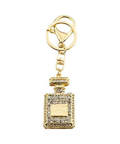 (Knighthood Lovely Perfume Fragrance Bottle with Swarovski Detailing Handbag Charm Key Chain/Purse Charm (Black,Gold))