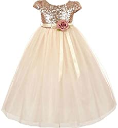 Girls Short Sleeve Sequins Flower Girl Dress