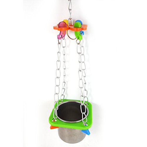 Bird Stainless Steel Cage - Pet Bird Food Feeding and Drinking Hanging Cup Stainless Steel Coop Hanger Cup And Cup Holder For Parrot Cage Budgie (Big)