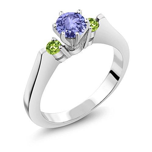 0.60 Ct Round Blue Tanzanite Green Peridot 925 Sterling Silver 3-Stone (Round Peridot 3 Stone Ring)