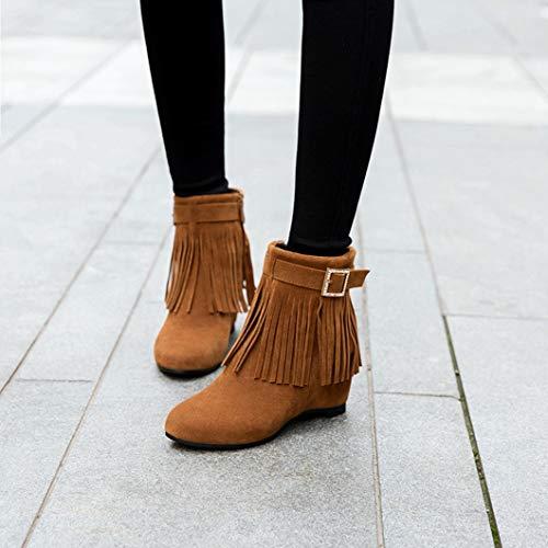 Otoñales Zapatos Faux Diseño Botas Maiamy Cuña Brown De Borlas Botines Hebilla Gamuza Invierno zw1PgX