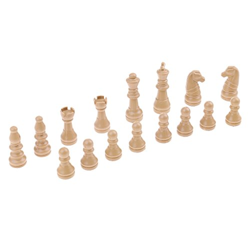 Fenteer 16 Pieza para Ajedrez Juego – International Chess Pieces Set – Beige