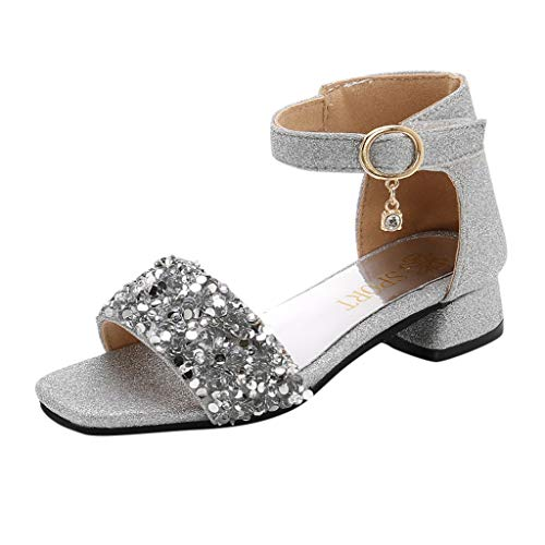 (Tantisy ♣↭♣ Girls' Kids Open Toe Strappy Rhinestone Dress Sandal Low Heel Shoes - Wedding, Dress, Dance, Flower Girl Silver)