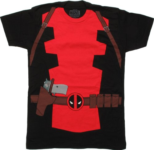 Marvel Men's Deadpool Classic Costume Suit Fitted Cotton T Shirt Medium Black