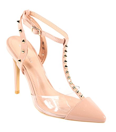 Fashion O70 High Pointed CRAZY Heel Studded Beige Womens Shoes SHU Toe Court Ladies Dressy Party aw8qx