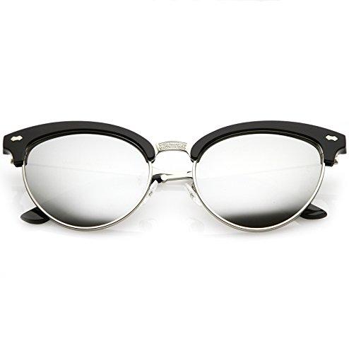 (sunglassLA - Women's Cat Eye Sunglasses Horned Rim Half Frame Oval Color Mirrored Lens 54mm (Black Silver/Silver Mirr))