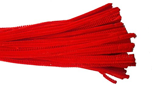 Caryko Super Fuzzy Chenille Stems Pipe Cleaners, Pack of 100 (Red)