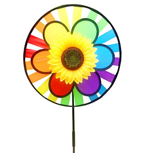 Wings®Sunflower Rainbow Triple Wheel Spinner Garden (Wind Spinner Garden Triple)