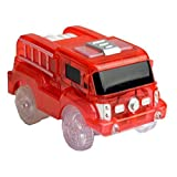 jeep fire truck - Children's Luminous Track Toy Car-Electronic LED Flashing Lights Jeep/Police/Fire Truck Boy Girls Birthday Gifts (FIRE TRUCK, RED, 5 LIGHTS)