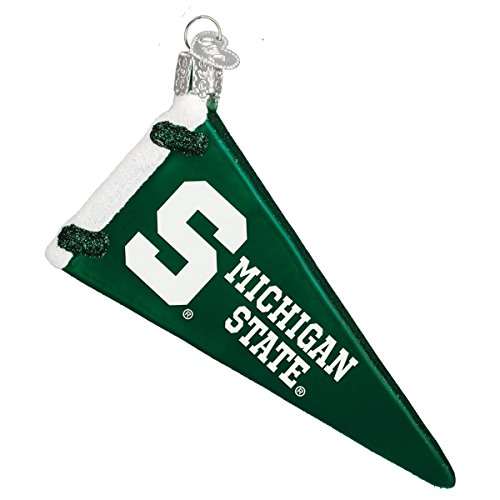Old World Christmas Ornaments: Michigan State Pennant Glass Blown Ornaments for Christmas Tree