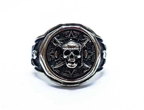 Handmade Jack Sparrow Sterling Silver Pirate Ship Skull Ring