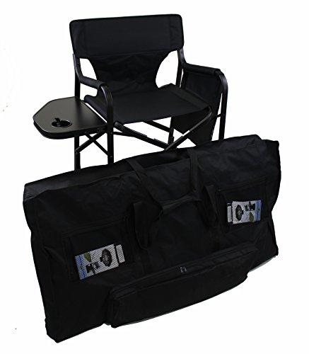 World Outdoor Products Lightweight PROFESSIONAL EDITION Tall Directors Chair with CUSTOM ZIPPERED Storage Bag, Side Table with Built-In Cup Holder REMOVABLE PATCH on Chair - Camping Custom Chairs