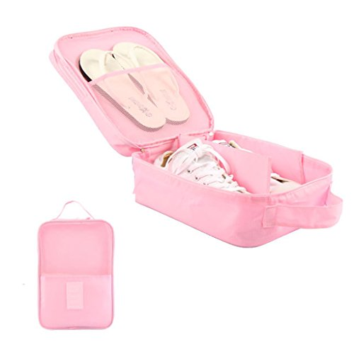 Shoe Bag Organizer Storage Lightweight Breathable for Travel Holder 3 Pairs of Shoes (Pink) (Slipper Bag)