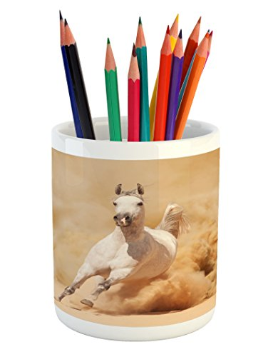 Lunarable Horses Pencil Pen Holder, Arabian Horse Breed Running Out of the Desert Storm Sand High Tail Creature Nature, Printed Ceramic Pencil Pen Holder for Desk Office Accessory, Cream White by Lunarable
