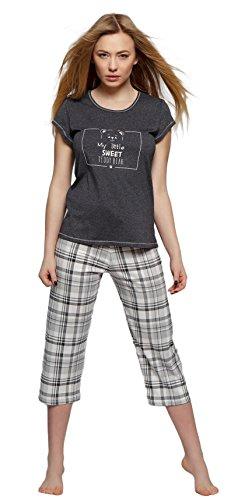 Sensis elegante de algodón Pijama de dormir Traje Traje de casa stillvollem Camiseta y Pantalón de cuadros antracita