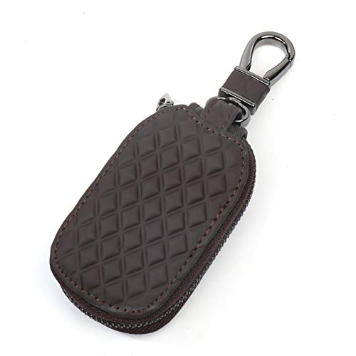 Car FOB Key Wallet Holder - (Brown) Diamond pattern with internal key chain, metal clasp and zipper. Protection and storage for pills, vape pods and cartridges and other small objects.
