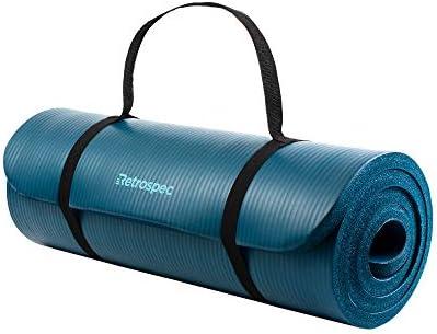 Retrospec Solana Yoga Mat 1 1 2 Thick w Nylon Strap for Men Women – Non Slip Excercise Mat for Yoga, Pilates, Stretching, Floor Fitness Workouts