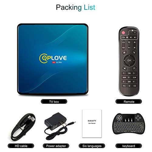 Android TV Box, QPLOVE Q8 Android 10.0 TV Box【4GB 64GB】 RK3318 Quad Cord 64Bits CPU Support 2.4G/5G Dual WiFi BT 4.0 USB 3.0 100M LAN 3D 4K Smart TV Box with Wireless Keyboard