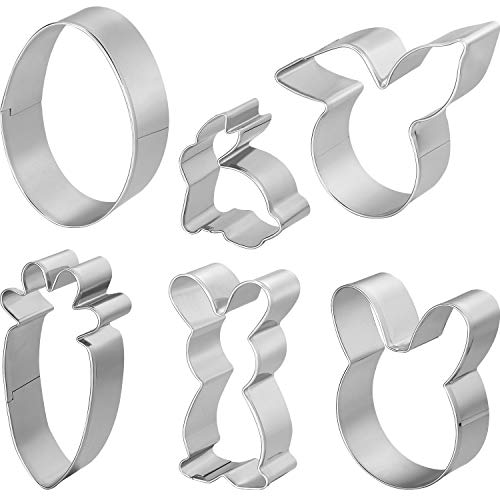 Patelai 6 Pieces Easter Cookie Cutter Set Stainless Steel Biscuit Cutter Egg Carrot Bunny Shaped Molds