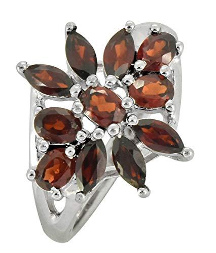 (YoTreasure 925 Sterling Silver Flower Cluster Natural Red Garnet Ring )