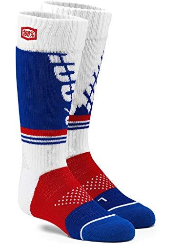 - 100% Youth Moto Socks - Torque (Large/X-Large) (White)