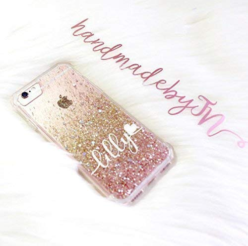 HandmadebyTN Name customization Rose gold glitter Phone case for iPhone case and Samsung galaxy Note 8 case, Note 9 case, S9 Plus case, S9 case, Phone Xs max case, iphone xs case, iphone xr case