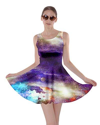 Stelle Luna Costellazioni Vestito Frizzle Viola Mrs 5xl Womens Scuro Notturno Pianeti Spazio Stellato Skater Cielo Xs Cowcow xwAqCFR0