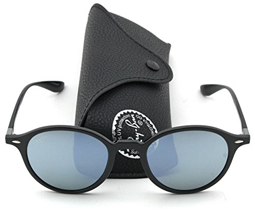 Ray-Ban RB4237 ROUND LITEFORCE Unisex Mirrored Sunglasses (Black Frame, Green Silver Mirror Lens - Ray Silver Mirrored Ban