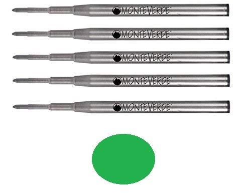(5 pack - Monteverde Ballpoint Pen Refill to Fit Montblanc Twist-Action Ballpoint Pens, Soft Roll (Bulk Packed) (Medium, Green))