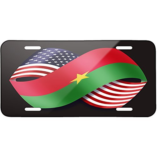 Friendship Flags USA and Burkina Faso Metal License Plate 6X12 Inch