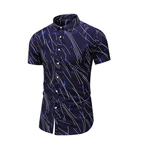 Shirt Big and Tall Hamilton Short Sleeve Button Down Print Button Turn-Down Collar Slim Fit Shirt Top Blouse Men (S,Navy)]()