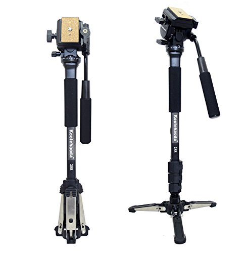 Koolehaoda Professional Camera Aluminium Monopod Fluid Video Head with Folding Three Feet Support Stand, Max:58.2″(OEM Yunteng288 Monopod)
