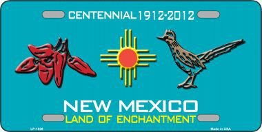(Smart Blonde Red Chili & Road Runner New Mexico Teal Novelty Metal License Plate)