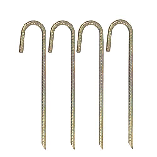 Kichwit Trampolines Wind Stakes Heavy Duty Galvanized Steel Tent Stakes, Strong Tent Pegs, 15 Inches Long, Pack of 4 (Best Tent Stakes For Wind)